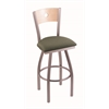 "830 Voltaire 36"" Bar Stool with Stainless Finish, Axis Grove Seat, Natural Maple Back, and 360 swivel"