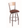 "830 Voltaire 36"" Bar Stool with Stainless Finish, Axis Paprika Seat, Natural Maple Back, and 360 swivel"