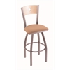 "830 Voltaire 36"" Bar Stool with Stainless Finish, Axis Summer Seat, Natural Maple Back, and 360 swivel"