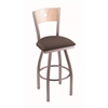 "830 Voltaire 30"" Bar Stool with Stainless Finish, Axis Truffle Seat, Natural Maple Back, and 360 swivel"