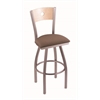 "830 Voltaire 36"" Bar Stool with Stainless Finish, Axis Willow Seat, Natural Maple Back, and 360 swivel"