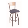 "830 Voltaire 30"" Bar Stool with Stainless Finish, Rein Bay Seat, Natural Maple Back, and 360 swivel"