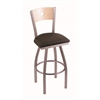"830 Voltaire 36"" Bar Stool with Stainless Finish, Rein Coffee Seat, Natural Maple Back, and 360 swivel"