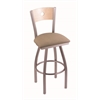 "830 Voltaire 30"" Bar Stool with Stainless Finish, Rein Thatch Seat, Natural Maple Back, and 360 swivel"