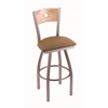 "830 Voltaire 30"" Bar Stool with Stainless Finish, Allante Beechwood Seat, Natural Oak Back, and 360 swivel"