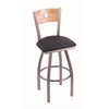 "830 Voltaire 30"" Bar Stool with Stainless Finish, Allante Dark Blue Seat, Natural Oak Back, and 360 swivel"