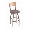 "830 Voltaire 30"" Bar Stool with Stainless Finish, Allante Medium Grey Seat, Natural Oak Back, and 360 swivel"
