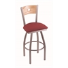 "830 Voltaire 36"" Bar Stool with Stainless Finish, Allante Wine Seat, Natural Oak Back, and 360 swivel"