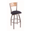 "830 Voltaire 30"" Bar Stool with Stainless Finish, Axis Denim Seat, Natural Oak Back, and 360 swivel"