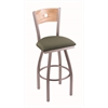 "830 Voltaire 36"" Bar Stool with Stainless Finish, Axis Grove Seat, Natural Oak Back, and 360 swivel"