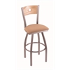 "830 Voltaire 25"" Counter Stool with Stainless Finish, Axis Summer Seat, Natural Oak Back, and 360 swivel"