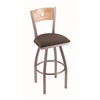 "830 Voltaire 36"" Bar Stool with Stainless Finish, Axis Truffle Seat, Natural Oak Back, and 360 swivel"