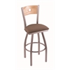 "830 Voltaire 30"" Bar Stool with Stainless Finish, Axis Willow Seat, Natural Oak Back, and 360 swivel"