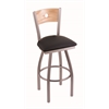 "830 Voltaire 30"" Bar Stool with Stainless Finish, Black Vinyl Seat, Natural Oak Back, and 360 swivel"