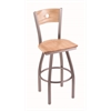 "830 Voltaire 30"" Bar Stool with Stainless Finish, Natural Oak Seat, Natural Oak Back, and 360 swivel"