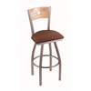 "830 Voltaire 36"" Bar Stool with Stainless Finish, Rein Adobe Seat, Natural Oak Back, and 360 swivel"