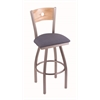 "830 Voltaire 36"" Bar Stool with Stainless Finish, Rein Bay Seat, Natural Oak Back, and 360 swivel"