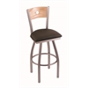 "830 Voltaire 30"" Bar Stool with Stainless Finish, Rein Coffee Seat, Natural Oak Back, and 360 swivel"