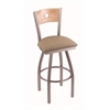 "830 Voltaire 30"" Bar Stool with Stainless Finish, Rein Thatch Seat, Natural Oak Back, and 360 swivel"