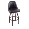 "840 Grizzly 30"" Bar Stool with Bronze Finish, Black Vinyl Seat, and 360 swivel"