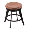 "Holland Bar Stool Co. 900 Laser 18"" Vanity Stool with Black Wrinkle Finish, Medium Oak Seat, and 360 Swivel"