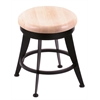 "Holland Bar Stool Co. 900 Laser 18"" Vanity Stool with Black Wrinkle Finish, Natural Maple Seat, and 360 Swivel"