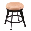 "Holland Bar Stool Co. 900 Laser 18"" Vanity Stool with Black Wrinkle Finish, Natural Oak Seat, and 360 Swivel"