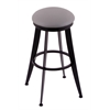 "Holland Bar Stool Co. 900 Laser 30"" Bar Stool with Black Wrinkle Finish, Allante Medium Grey Seat, and 360 swivel"