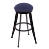 "Holland Bar Stool Co. 900 Laser 30"" Bar Stool with Black Wrinkle Finish, Axis Denim Seat, and 360 swivel"