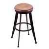 "Holland Bar Stool Co. 900 Laser 30"" Bar Stool with Black Wrinkle Finish, Medium Maple Seat, and 360 swivel"