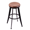 "Holland Bar Stool Co. 900 Laser 30"" Bar Stool with Black Wrinkle Finish, Medium Oak Seat, and 360 swivel"