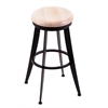 "Holland Bar Stool Co. 900 Laser 30"" Bar Stool with Black Wrinkle Finish, Natural Maple Seat, and 360 swivel"
