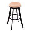 "Holland Bar Stool Co. 900 Laser 25"" Counter Stool with Black Wrinkle Finish, Natural Oak Seat, and 360 swivel"