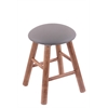 Maple Round Cushion Vanity Stool with Smooth Legs, Medium Finish, Allante Medium Grey Seat, and 360 Swivel
