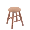 Maple Round Cushion Vanity Stool with Smooth Legs, Medium Finish, Axis Summer Seat, and 360 Swivel