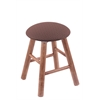 Maple Round Cushion Vanity Stool with Smooth Legs, Medium Finish, Axis Willow Seat, and 360 Swivel