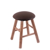 Maple Round Cushion Vanity Stool with Smooth Legs, Medium Finish, Rein Coffee Seat, and 360 Swivel