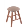 Maple Round Cushion Vanity Stool with Smooth Legs, Medium Finish, Rein Thatch Seat, and 360 Swivel