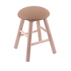 Maple Round Cushion Vanity Stool with Smooth Legs, Natural Finish, Allante Beechwood Seat, and 360 Swivel