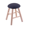 Maple Round Cushion Vanity Stool with Smooth Legs, Natural Finish, Allante Dark Blue Seat, and 360 Swivel