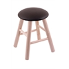 Maple Round Cushion Vanity Stool with Smooth Legs, Natural Finish, Allante Espresso Seat, and 360 Swivel