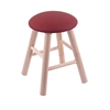 Maple Round Cushion Vanity Stool with Smooth Legs, Natural Finish, Allante Wine Seat, and 360 Swivel
