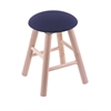 Maple Round Cushion Vanity Stool with Smooth Legs, Natural Finish, Axis Denim Seat, and 360 Swivel