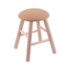 Maple Round Cushion Vanity Stool with Smooth Legs, Natural Finish, Axis Summer Seat, and 360 Swivel