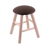 Maple Round Cushion Vanity Stool with Smooth Legs, Natural Finish, Rein Coffee Seat, and 360 Swivel