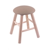 Maple Round Cushion Vanity Stool with Smooth Legs, Natural Finish, Rein Thatch Seat, and 360 Swivel