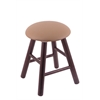 Holland Bar Stool Co. Oak Round Cushion Vanity Stool with Smooth Legs, Dark Cherry Finish, Allante Beechwood Seat, and 360 Swivel