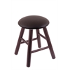 Oak Round Cushion Vanity Stool with Smooth Legs, Dark Cherry Finish, Allante Espresso Seat, and 360 Swivel