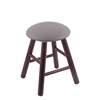 Oak Round Cushion Vanity Stool with Smooth Legs, Dark Cherry Finish, Allante Medium Grey Seat, and 360 Swivel