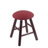 Oak Round Cushion Vanity Stool with Smooth Legs, Dark Cherry Finish, Allante Wine Seat, and 360 Swivel